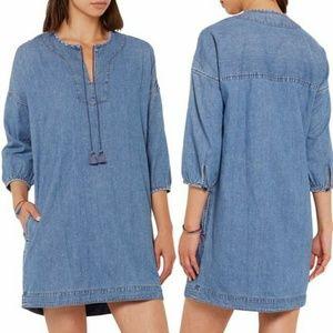Madewell Denim Artiste Tasseled Tunic Dress